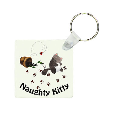 Square keyring cute naughty kitty image front view
