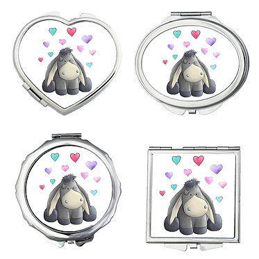 Set of four compact mirrors round, heart, oval, square shapes with cute donkey image front view
