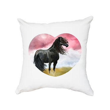 White cushion cover with zip black horse image front view