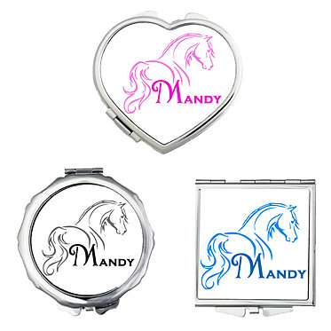 Set of three compact mirrors personalised horse looking away image front view