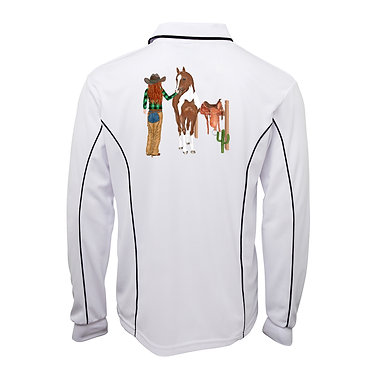 White with navy pipping adults long sleeve polo top red haired western girl with horse image back view