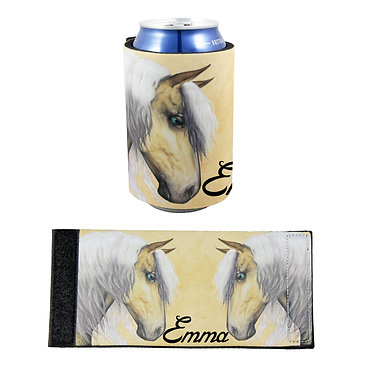 Personalised neoprene stubby cooler palomino horse image front and flat view