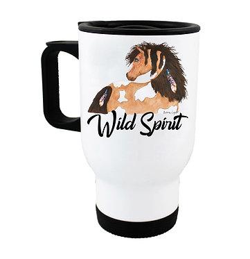 Travel mug with wild spirit horse image front view