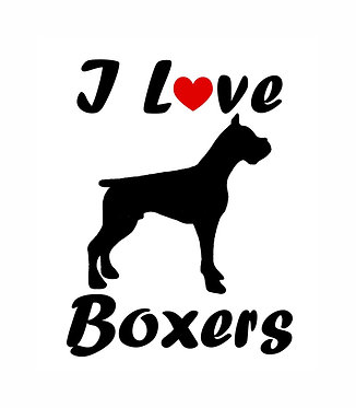 I love boxers dog decal sticker in black front view