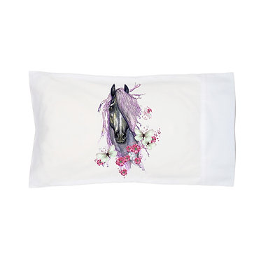 Pillowcase white purple horse with butterflies image front right view