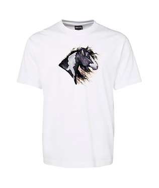 Adults white t-shirt 100% cotton with a black and white paint horse image on front