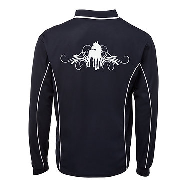 Adults long sleeve polo shirt black white horse and scrolls image back view