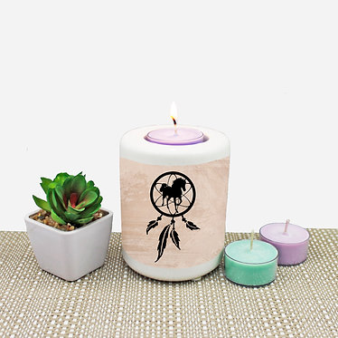 Dream catcher horse ceramic tealight candle holder front view