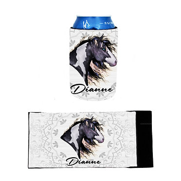 Personalised neoprene stubby cooler black and white paint horse image front and flat view