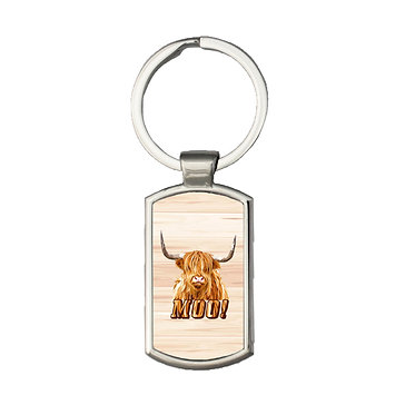 Rectangle metal key ring with highland cow image and text moo! front view