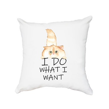 White cushion cover with zip 40cm x 40cm cute fluffy cat I do what I want image front view