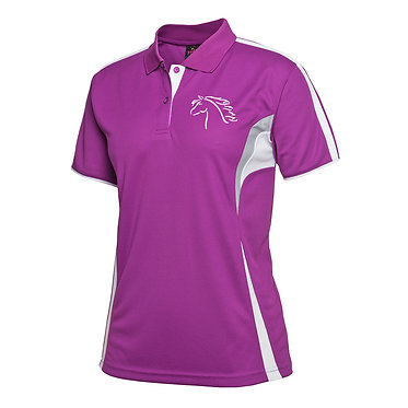 Ladies cool polo shirt Mulberry white horse girl image front view