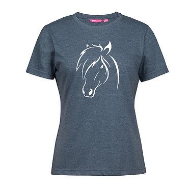 Ladies slim fit t-shirt white 100% cotton denim blue horse head image front view