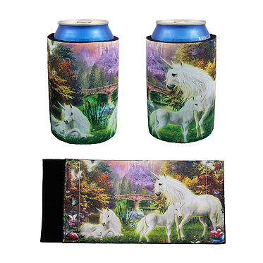 Stubby cooler fantasy unicorns in forest front and back view