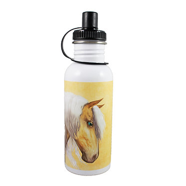 Stainless steel water bottle with palomino horse image front view