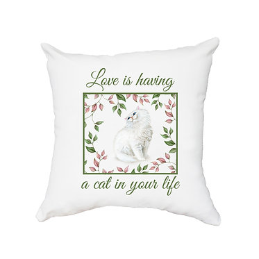 White cushion cover with zip and white cat with leaves image front view