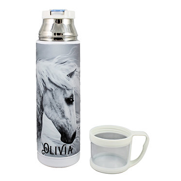 Personalised thermos flask drink travel bottle stainless steel black and white horse image front lid off view