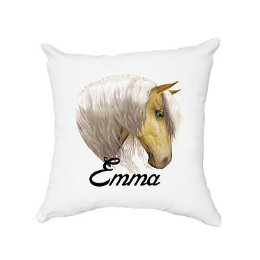 Personalised white cushion with zip palomino horse image front view