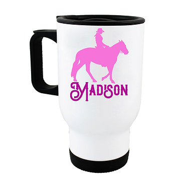 Personalised travel mug stainless steel western horse rider hot pink image front view