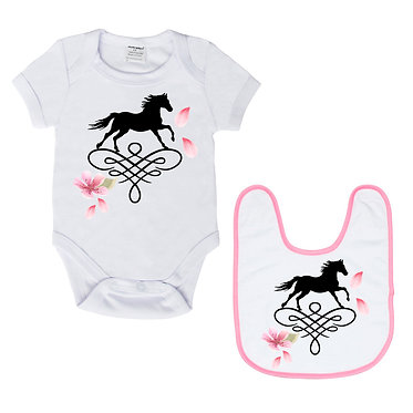 Baby romper play suit and matching bib gift set in white with soft pink trim on bib horse on scroll image front view