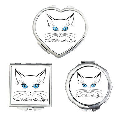 Cat theme compact mirror set shapes round, square, heart cat face image front view