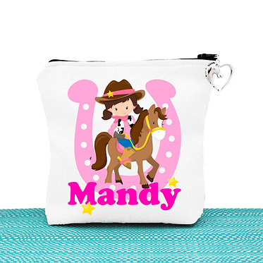 White cosmetic toiletry bag with zipper personalised cartoon cowgirl image front view