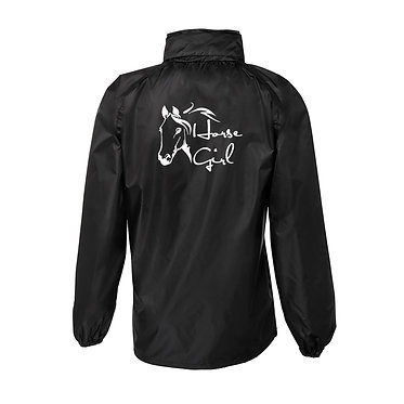 Horse themed rain sheet horse girl black with white image back view