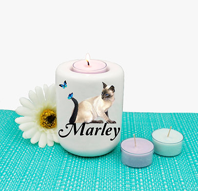 Personalized ceramic tealight candle holder cat with butterflies image front view