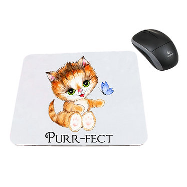 Neoprene computer mouse pad cute kitty purr-fect image front view