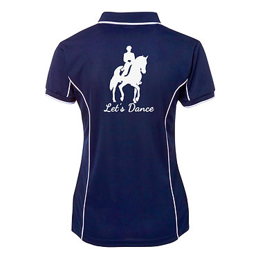 Ladies horse pipping polo shirt navy white dressage rider let's dance image back view