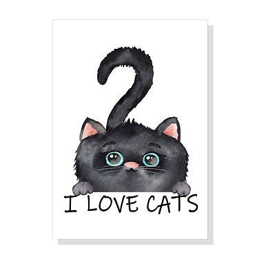 Rectangle A4 art print on card stock black kitty I love cats image front view