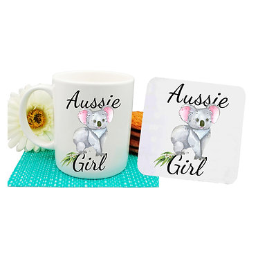 Ceramic coffee mug and drink coaster set Australian Aussie girl Koala image front view
