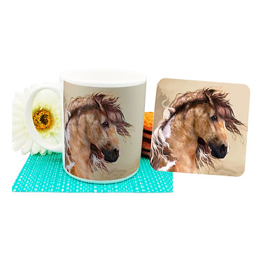 Paint horse ceramic coffee mug and coaster set front view