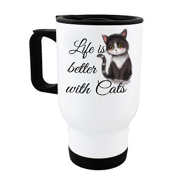 """Travel mug black and white cat with quote """"Life is better with cats"""" image front view"""