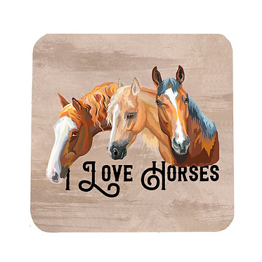 Neoprene drink coaster with i love horses image front view