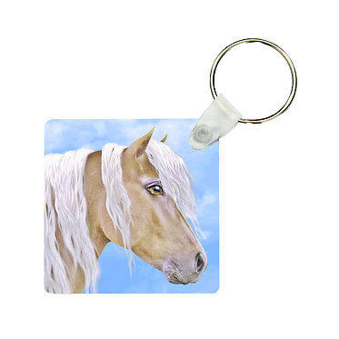 Square MDF wood key-ring beautiful palomino horse image front view