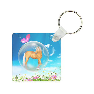 Square wood key ring fantasy unicorn in bubble image front view
