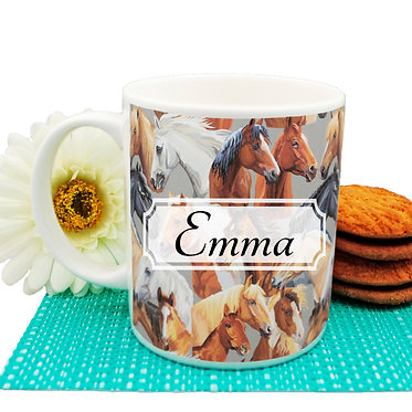 Personalised ceramic coffee mug with horse pattern image front view