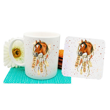 Coffee mug and drink coaster set with dream catcher horse image front view