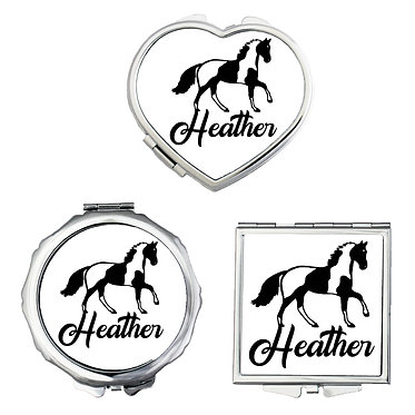 Set of three compact mirrors personalised paint horse image front view