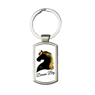Rectangle metal key ring black and gold unicorn image dream big front view