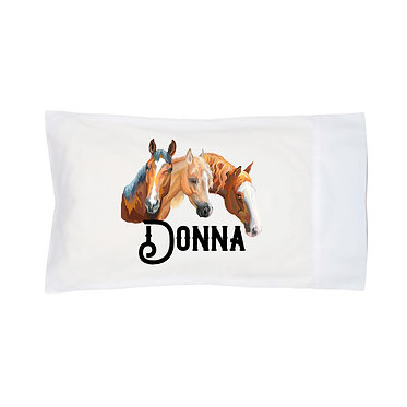 Personalised horse pillow case three horses  image front right facing view