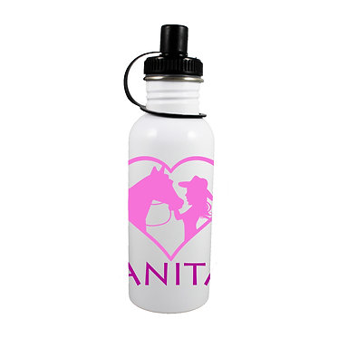 Personalised stainless steel water bottle girl and horse in heart hot pink image front view