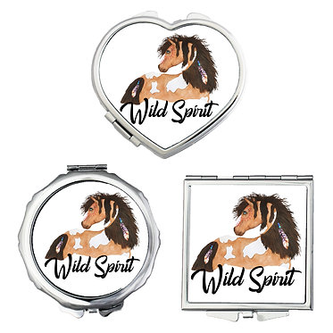 Compact mirrors in 3 shapes heart, round and square wild spirit paint horse image front view