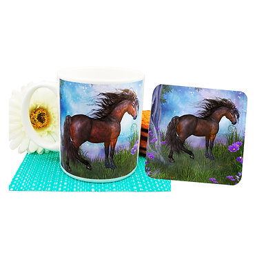 Horse in forest ceramic coffee mug and coaster set front view
