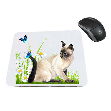 Neoprene computer mouse pad cat with butterflies image front view