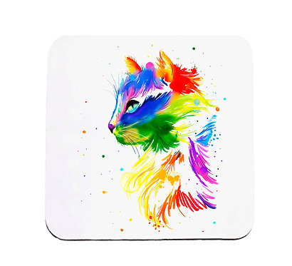 Neoprene drink coaster bright watercolour cat image front view