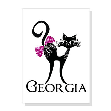 Rectangle A4 art print on card stock personalized cat with bow image front view