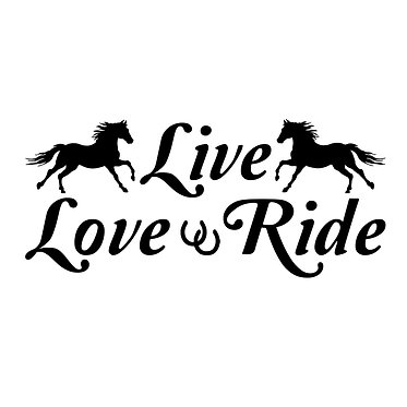 Horse vinyl decal sticker with quote live love ride in black front view