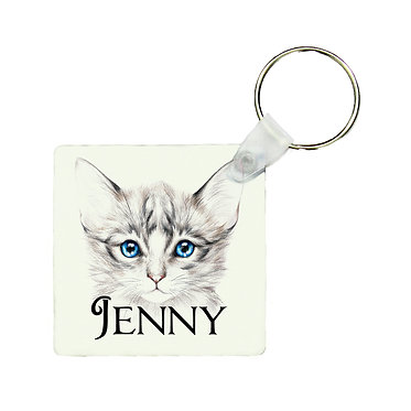 Personalized square keyring blue eyed kitten with name image front view